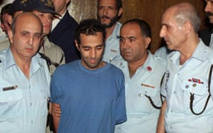 Yigal Amir being taken to court after the killing of Israeli prime minister Yitzhak Rabin