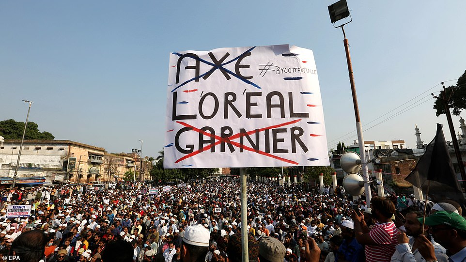 Protesters in Bhopal also joined calls for a boycott of French products that is already underway in some Muslim countries