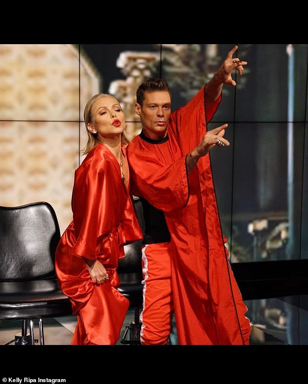 Not the same Halloween: Ripa and her cohost Ryan Seacrest hosting their show in pre-pandemic times