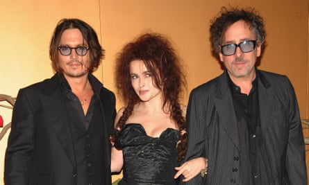 With her ex-husband Tim Burton and Johnny Depp
