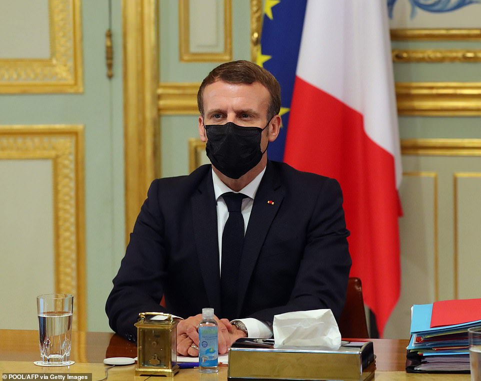 Emmanuel Macron takes part in a video conference on Covid-19 with members of the European Council at the Elysee Palace