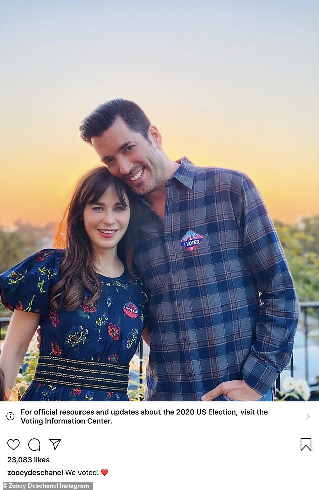 Spreading the news: Zooey Deschanel posed with her fiance as they told fans they had both voted