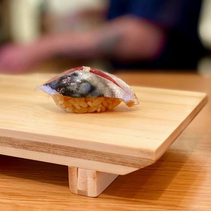 ... where the daily-changing menu might include horse mackerel with ginger sushi