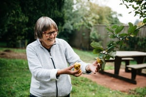 """A volunteer, who describes the community of guides at Westonbirt as """"like a family"""" shows the fruit of a quince tree"""