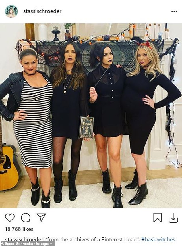 VR gals:Stassi Shroeder put her pregnancy bump on display in a black dress as she added red devil ears.The blonde beauty was with her Vanderpump Rules co-star Brittany Cartwright who is also pregnant. And there were two pretty brunette pals in all black