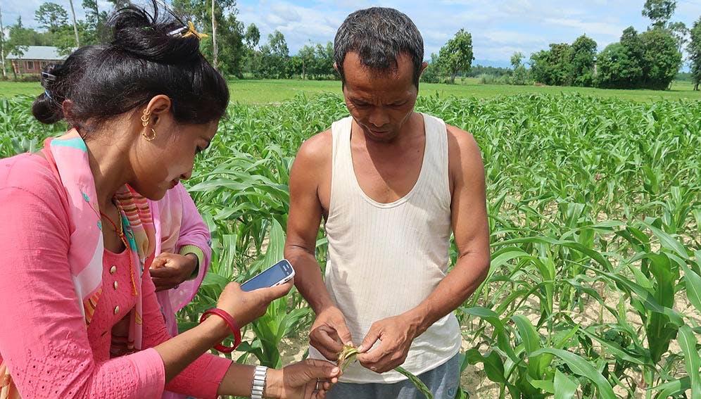 Farmer in a field using AtSource tech.