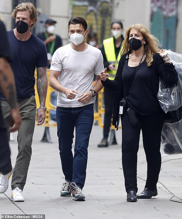 Back to business:The actor, 24, was seen darting around on a segway and chatting to crew as they resumed filming, following a halt to production in March due to the pandemic