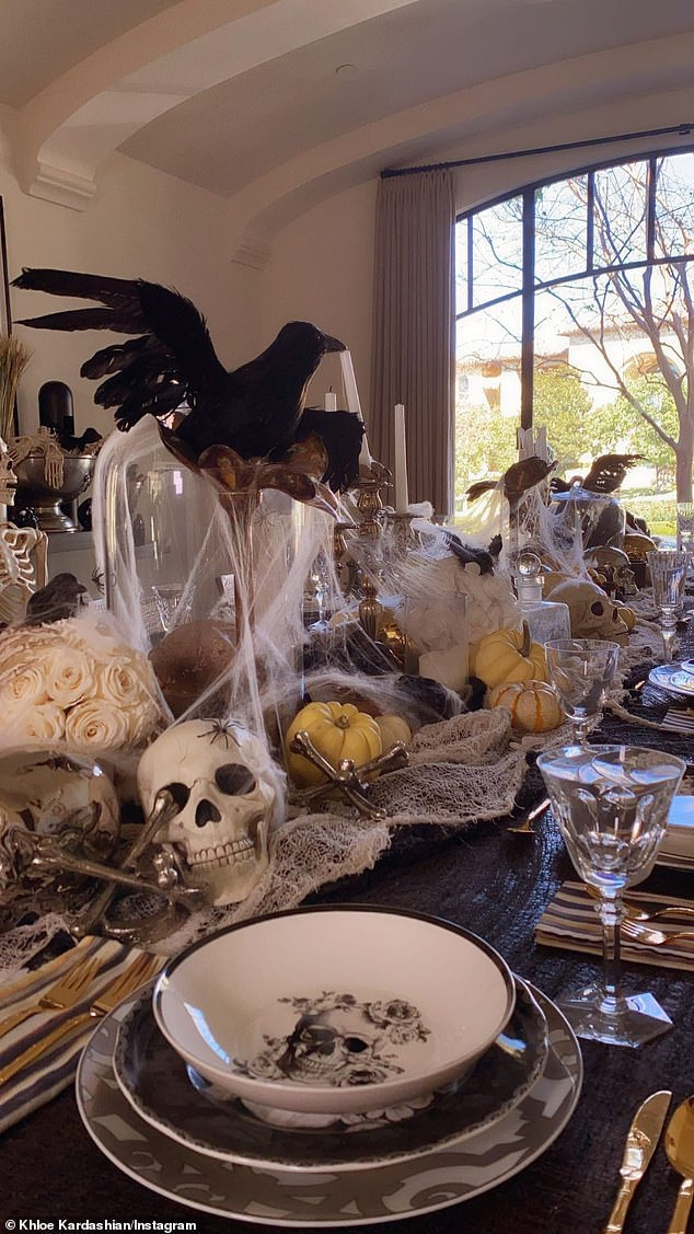 Dramatic: Then there was a photo of her grand Halloween table in her Calabasas home