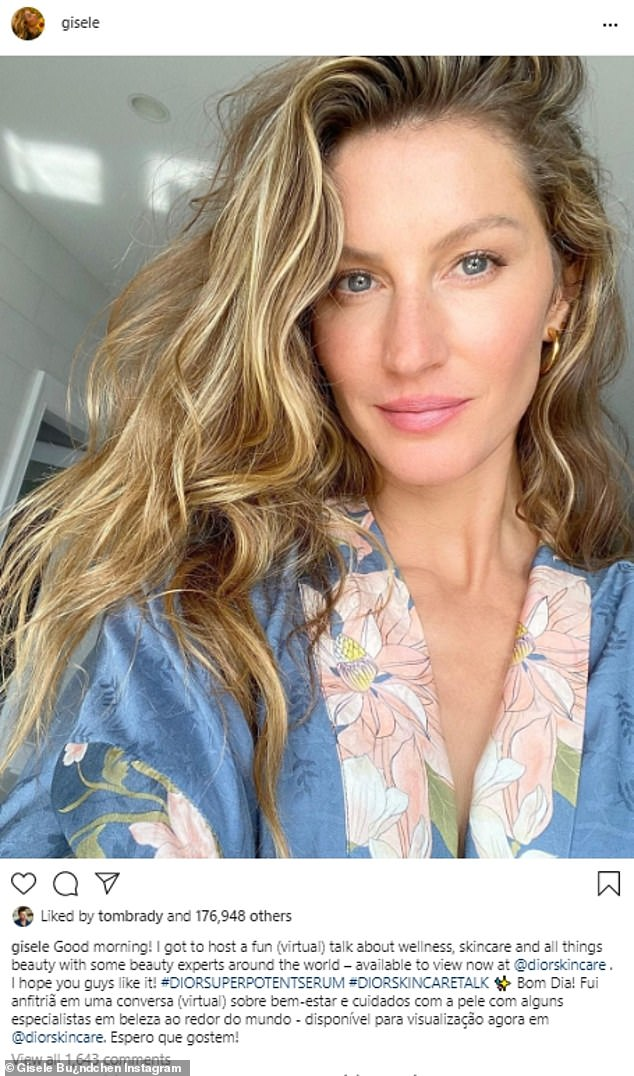 Clear skin: Gisele showed off her makeup-free face in a gorgeous Instagram selfie on Saturday morning, which got a loving response from her husband Tom Brady, 43