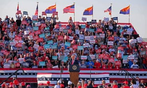 Donald Trump holds a campaign rally at the Tucson airport two weeks before the 2020 election.