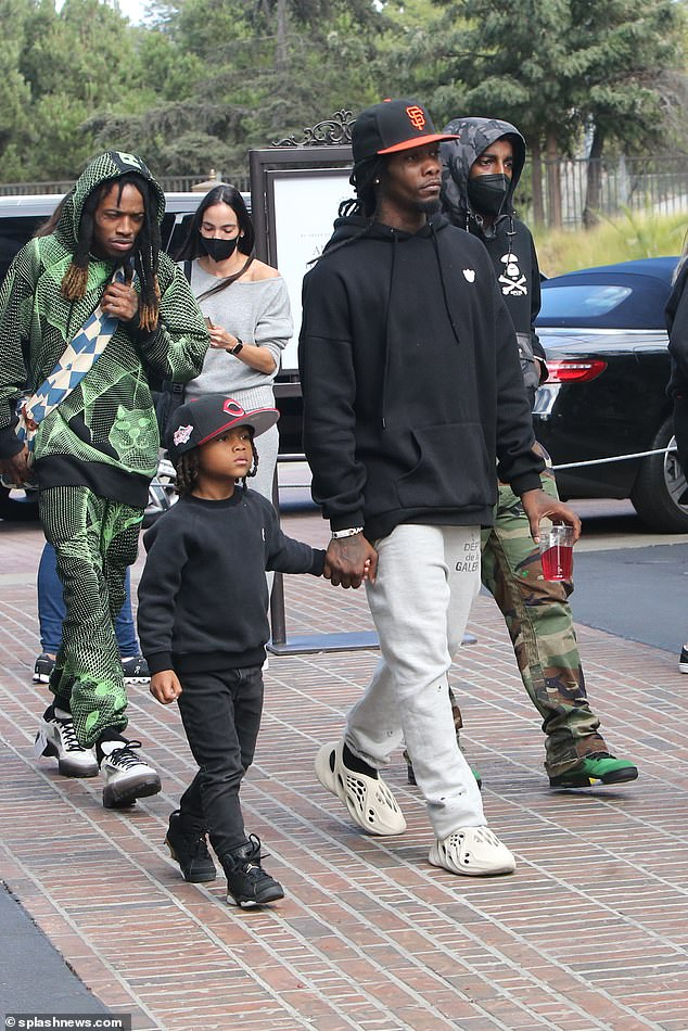 Entourage: Offset, born Kiari Kendrell Cephus, had a small crew with him as he headed to the Grove