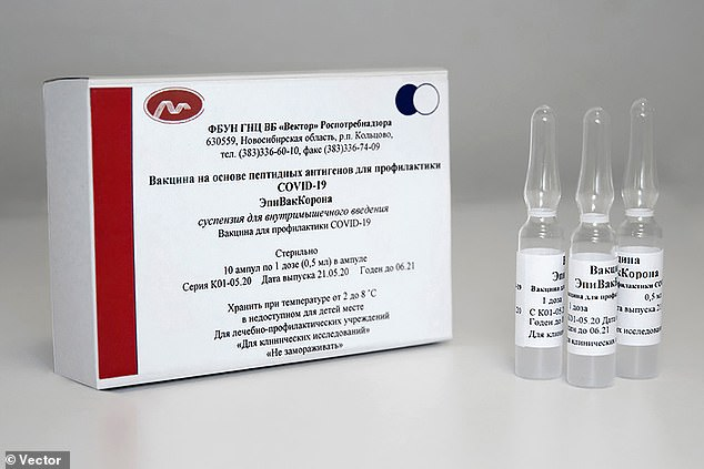 The State Research Vector Centre of Virology and Biotechnology in Siberia make Russia's second vaccine against Covid-19 known as EpiVacCorona (pictured) which will require repeat injections to maintain immunity, say its proponents