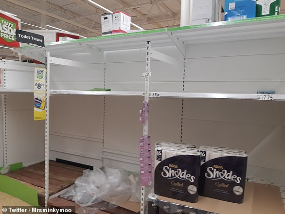 Shoppers around Britain were lucky to get their hands on toilet paper from the major supermarkets in March and April. Pictured, depleted shelves at an Asda