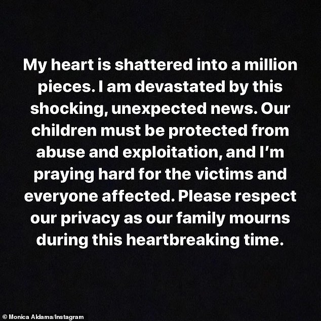 The algebra instructor wrote on Instagram at the time: 'My heart is shattered into a million pieces. I am devastated by this shocking, unexpected news. Our children must be protected from abuse and exploitation, and I'm praying hard for the victims and everyone affected'