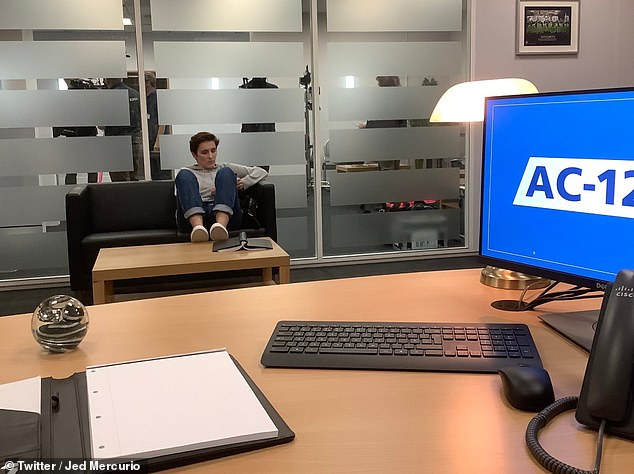 Chilling out:In snaps shared by series creator Jed Mercurio, the duo messed around by popping their feet up on the coffee table and posing by Hastings' desk between scenes