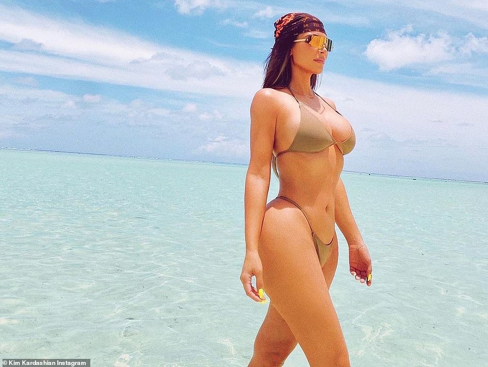 Enjoying island life in style:It has been reported she was at a private island in the Caribbean with her friends and family