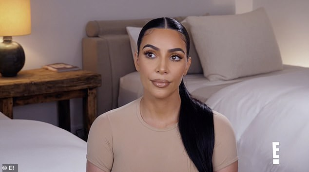 She was worried: Also in the new clip, Kim is seen talking about Khloe's illness.'We're just anxiously awaiting the results to see if Khloe has it or not, my gut tells me that she does just because she is so sick,' said Kim in a bedroom