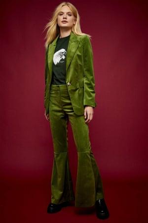 Velvet flared trouser suit from Topshop