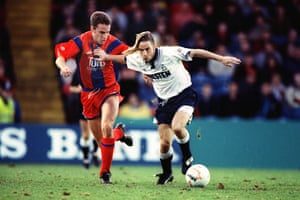 Gareth Southgate tries to dispossess Paul Walsh while playing for Crystal Palace against Tottenham in December 1991.