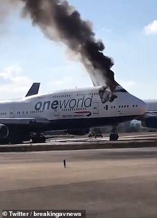 A British Airways Boeing 747-400 has burst into flames at a Spanish airport