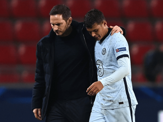 Frank Lampard and Thiago Silva look on after Chelsea's Champions League clash with Rennes