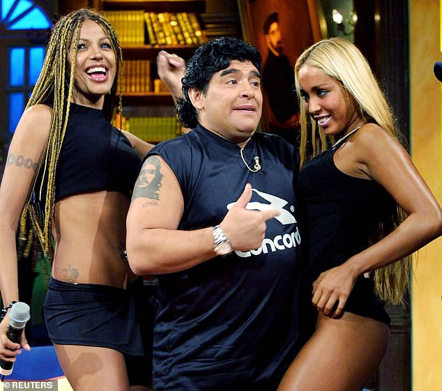 Football legend Diego Maradona (pictured on a Mexican TV show in 2002) died yesterday, aged 60, after suffering a heart attack at his Buenos Aires home