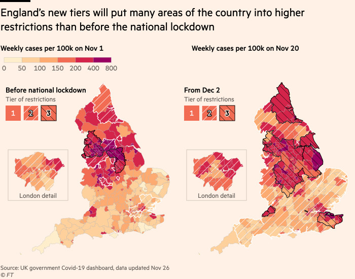 Maps showing that England's new tiers will put many areas of the country into higher restrictions than before the national lockdown