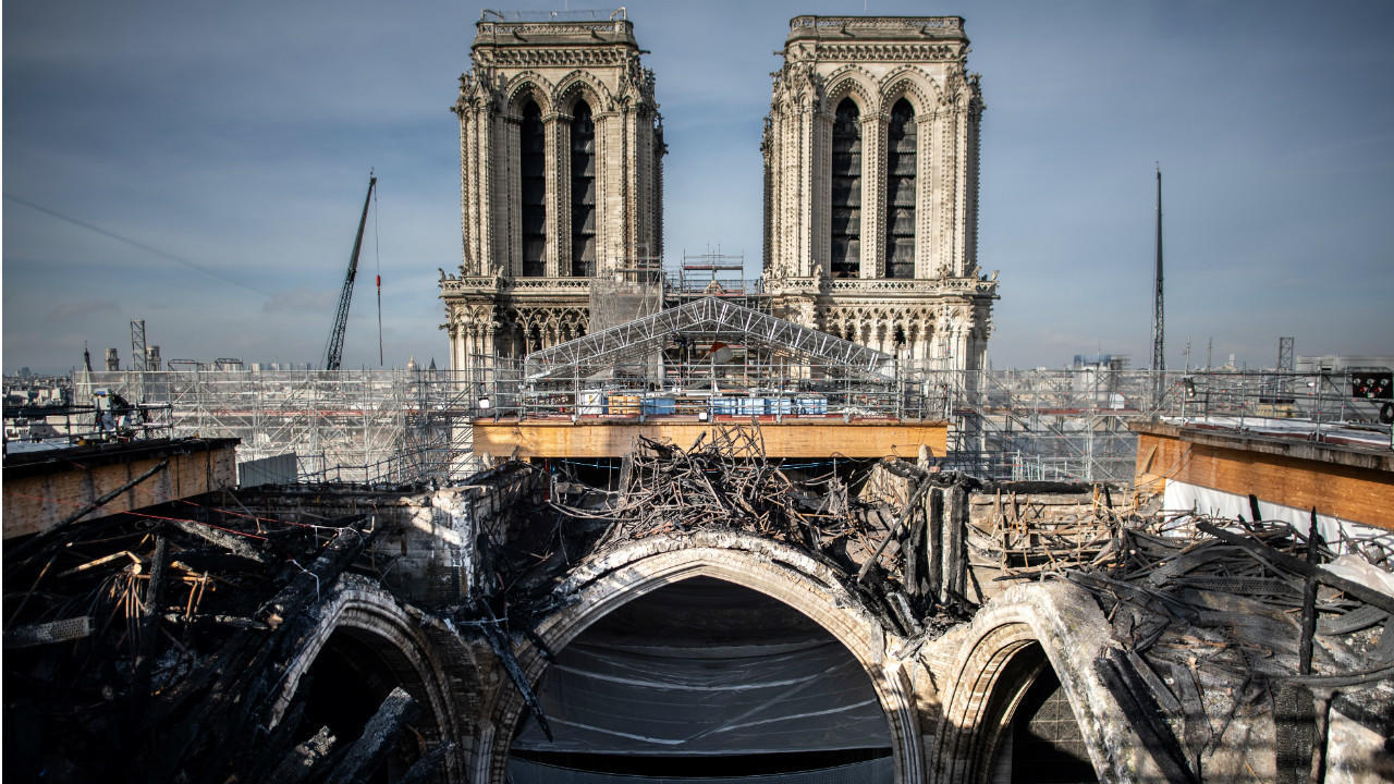 A photograph taken on November 24, 2020, in Paris shows the last remaining remnants of the melted scaffolding on the roof of Notre-Dame Cathedral.