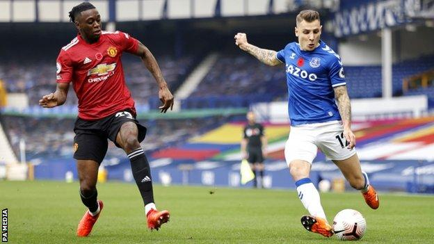 Lucas Digne playing against Manchester United