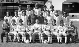 Preston North End, 1976-77 with Nobby Stiles on the right of the front row and Mark Lawrenson third right in the middle row.