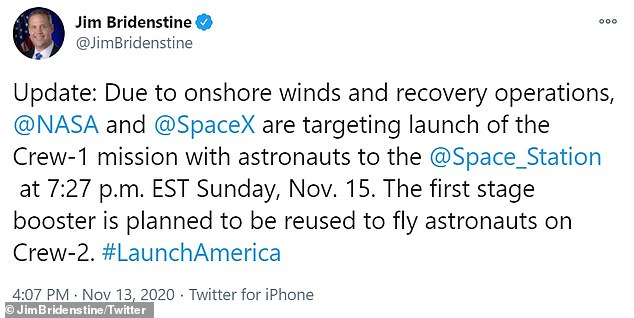 The Crew-1 mission, which was slated for Saturday, has been pushed to Sunday due to poor weather that could interfere with rocket recovery operations – although conditions are 60 percent favorable for launch. NASA Administrator Jim Bridenstine announced the delay via Twitter, sharing that onshore winds are to blame