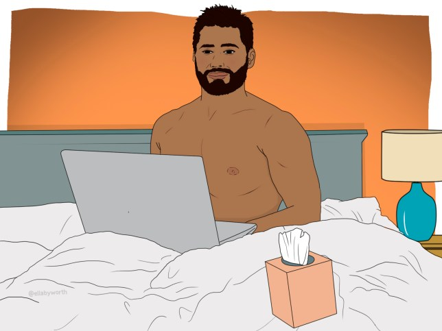 Illustration of a man sat on a bed with his laptop open and a box of tissues