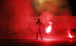A protest against Covid-19 restrictions in Naples on Saturday evening.