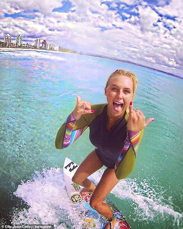 Surfing success: Ellie-Jean was picked up by sponsors at the tender age of 14. Pictured in 2016
