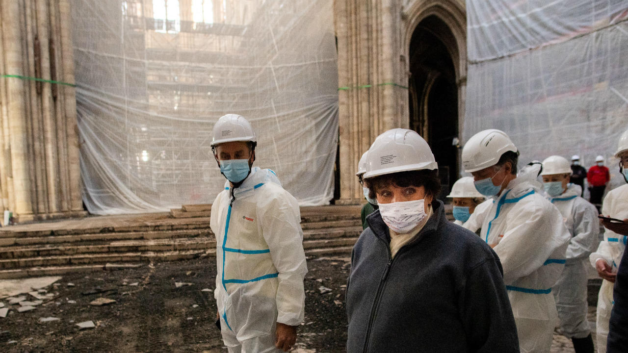 French Culture Minister Roselyne Bachelot visits the reconstruction site of Notre-Dame Cathedral in Paris, on November 24, 2020.