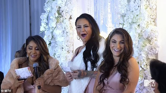 Read the room: The trio ruined her wedding with a disastrous bridesmaid speech by calling Angelina the 'fly' to their 's***,' bashing Staten Island and joking about Pivarnick's previous engagements