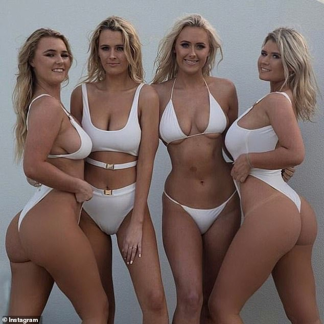 Sister act: Despite her success in the ocean, Ellie found more popular on Instagram, where she racked up one million followers thanks to her bikini-clad selfies. Her three sisters, Ruby-Lee, 20, Bonnie-Lou, 18, and Holly-Daze, 22, have all followed in her footsteps by becoming surfers and Instagram models