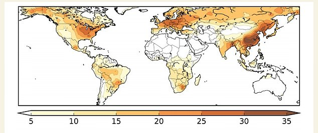 Pictured: Estimated percentages of Covid-19 mortality attributed to pollution. The darker colours indicate a higher percentage