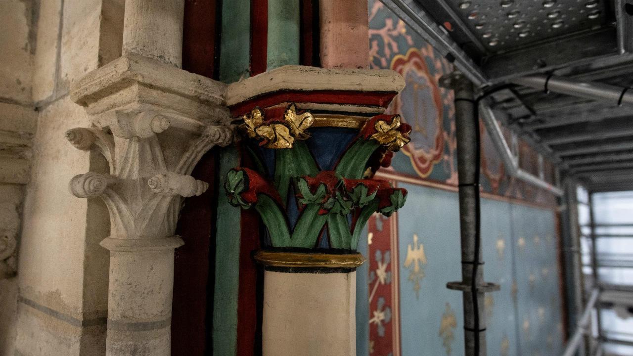 Detail on pillars inside Notre-Dame Cathedral in Paris during restoration work, on November 24, 2020.