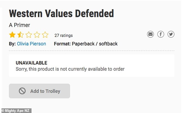 Pierson, who describes herself as NZ-based in her Twitter bio, is the author of the book Western Values Defended: A Primer which has since been made unavailable to buy online from Mighty Ape NZ