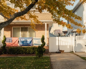 A Trump flag hangs on a home in Staten Island.