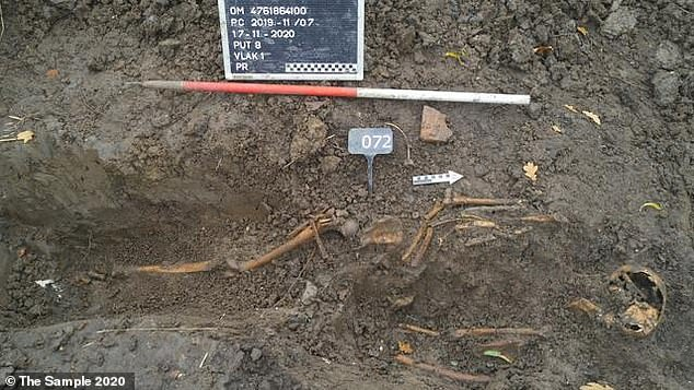A number of rusty nails were also collected from the scene, which suggests the stacked skeletons were initially buried in a wooden box