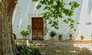 Jardines De Alfabia lone door framed by tree