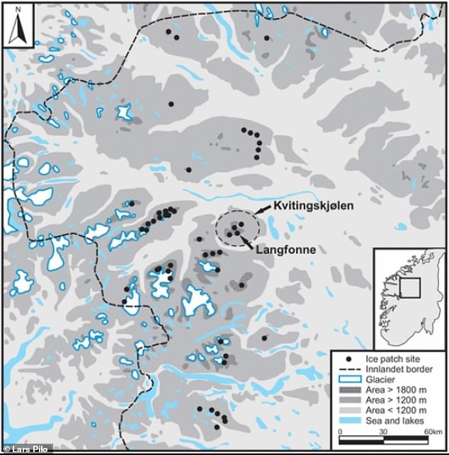 Map of ice sites in Innlandet County. The Langfonne ice patch was first discovered in 2006
