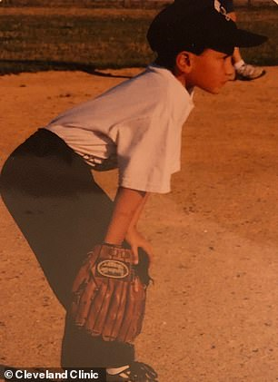 Before the accident, Brittain was a baseball player who played throughout elementary school, middle school, high school and college. Pictured: Luke playing baseball as a kid