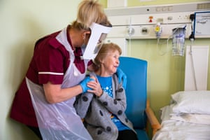 Margaret Keenan, 90, with healthcare assistant Lorraine Hill