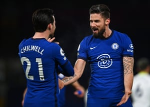 Chelsea's Olivier Giroud celebrates with Ben Chilwell after opening the scoring