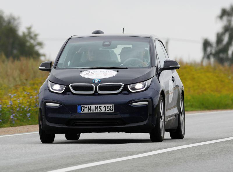 © Reuters. BMW i3 drives during electric car E-Rallye Baltica 2019 near Iecava