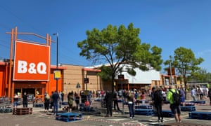 A queue outside a B&Q store in April.