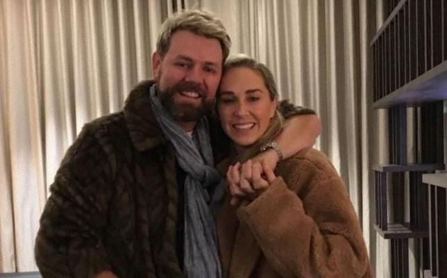 Brian McFadden with his arm around fiancee Danielle Parkinson